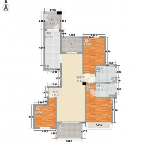 敬贤公园3室1厅2卫1厨150.00㎡户型图