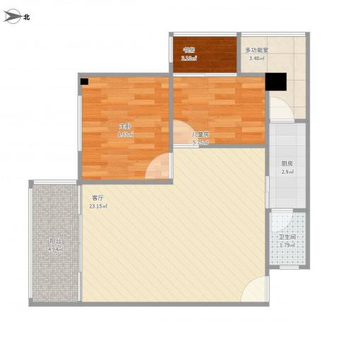 保利红棉花园3室1厅1卫1厨72.00㎡户型图