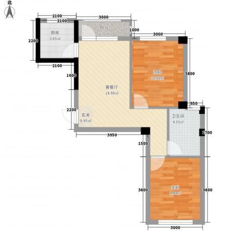 心海阳光2室1厅1卫1厨67.00㎡户型图