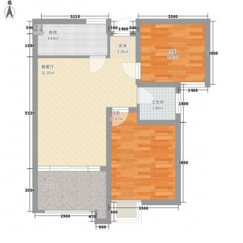 财富中心2室1厅1卫1厨80.00㎡户型图