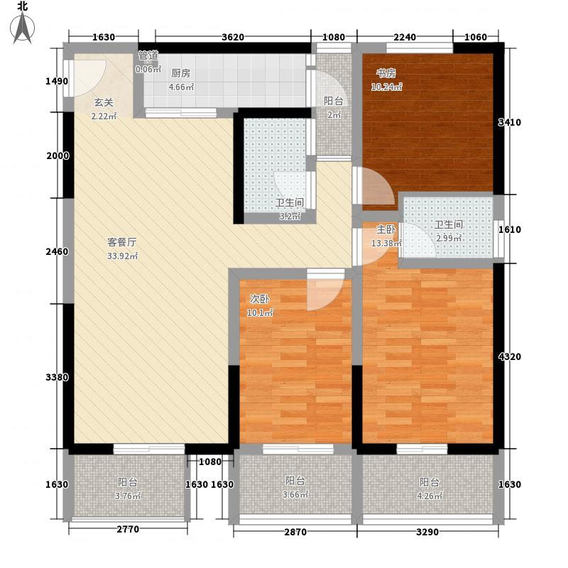 嘉辰时代公寓135.60㎡标准层B4户型3室2厅1卫