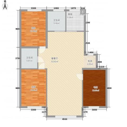 财富中心3室1厅2卫1厨149.00㎡户型图