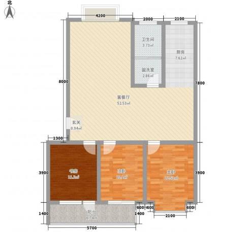 城市之星3室2厅1卫0厨123.00㎡户型图