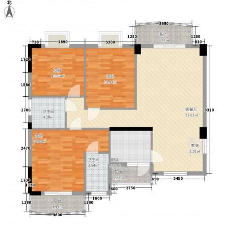 财富中心3室1厅2卫1厨142.00㎡户型图
