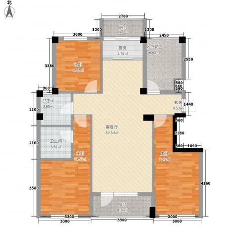 心海阳光3室1厅2卫1厨123.00㎡户型图
