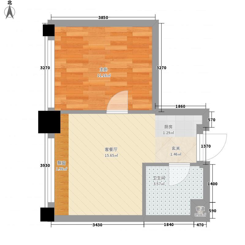 锦里1室1厅1卫0厨44.00㎡户型图