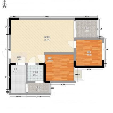 华海苑2室1厅1卫1厨82.00㎡户型图