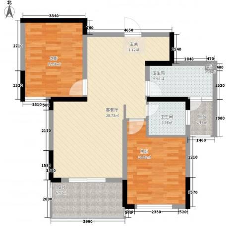 信达之家2室1厅2卫0厨103.00㎡户型图