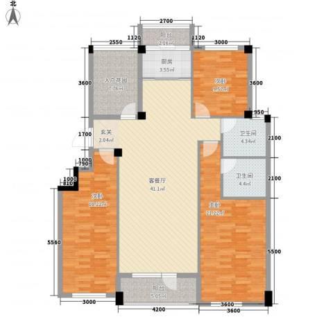 心海阳光3室1厅2卫1厨127.00㎡户型图