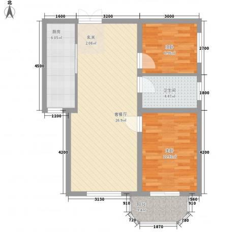 万寿花园2室1厅1卫1厨84.00㎡户型图