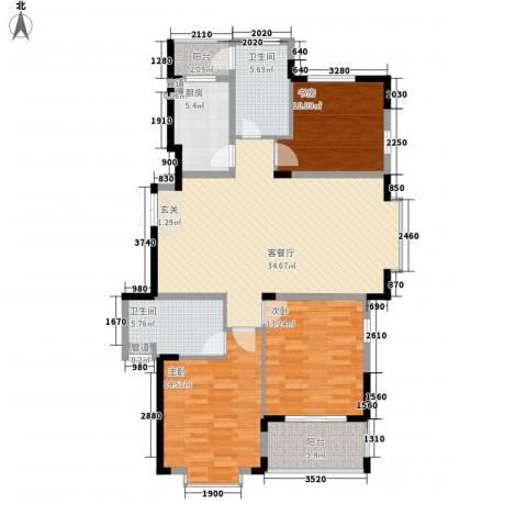 锦绣华庭3室1厅2卫1厨136.00㎡户型图