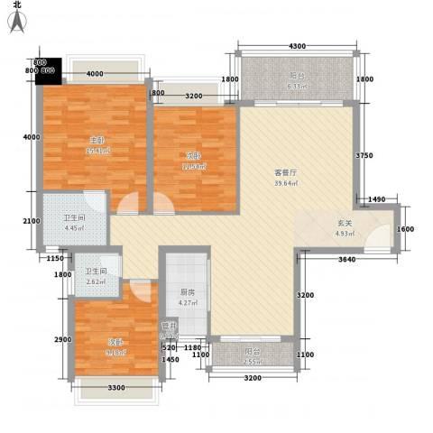 景湖时代城3室1厅2卫1厨131.00㎡户型图