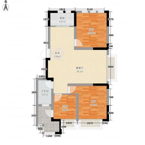 兰亭苑3室1厅1卫1厨99.00㎡户型图