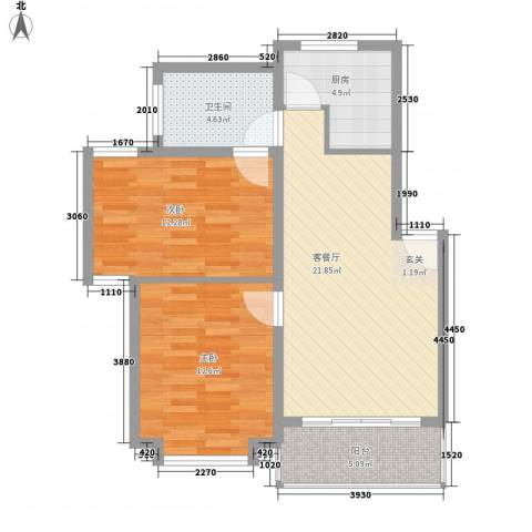 东兰兴城玉兰苑2室1厅1卫1厨87.00㎡户型图
