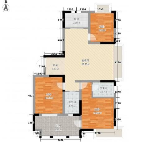 兰亭苑3室1厅2卫1厨123.00㎡户型图