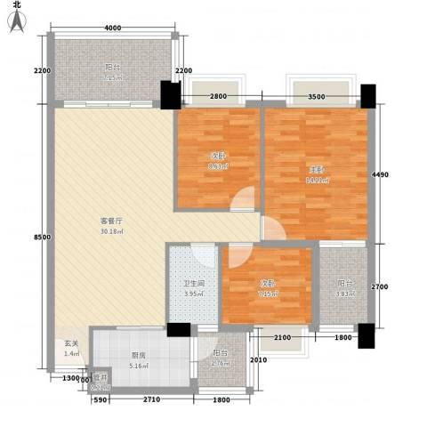 景湖时代城3室1厅1卫1厨99.00㎡户型图
