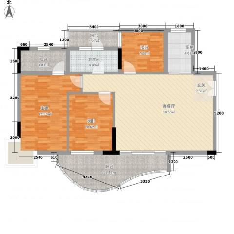 灵溪美居3室1厅1卫1厨136.00㎡户型图