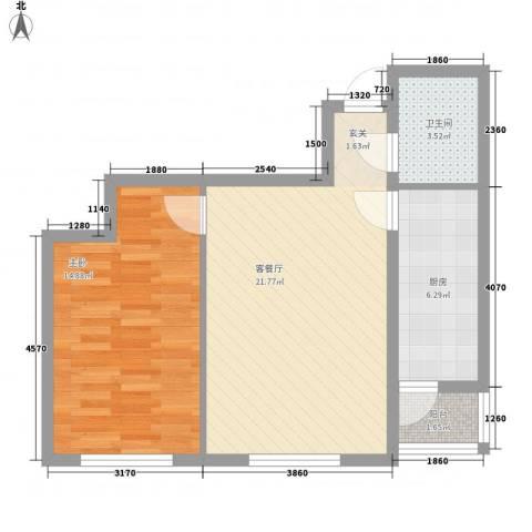 财富天地1室1厅1卫1厨48.11㎡户型图