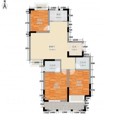 兰亭苑3室1厅2卫1厨122.00㎡户型图