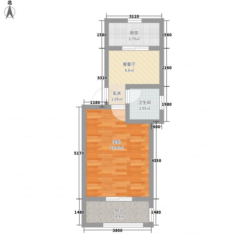 金庭花园52.28㎡户型1室1厅1卫1厨