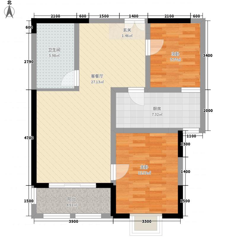 国太旺座8.50㎡1号楼B户型2室2厅1卫1厨