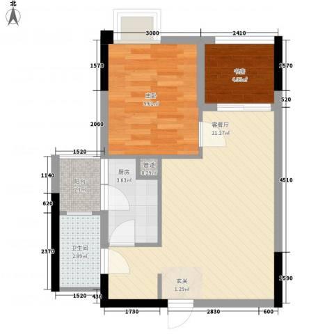 大鼎第一时间2室1厅1卫1厨48.00㎡户型图