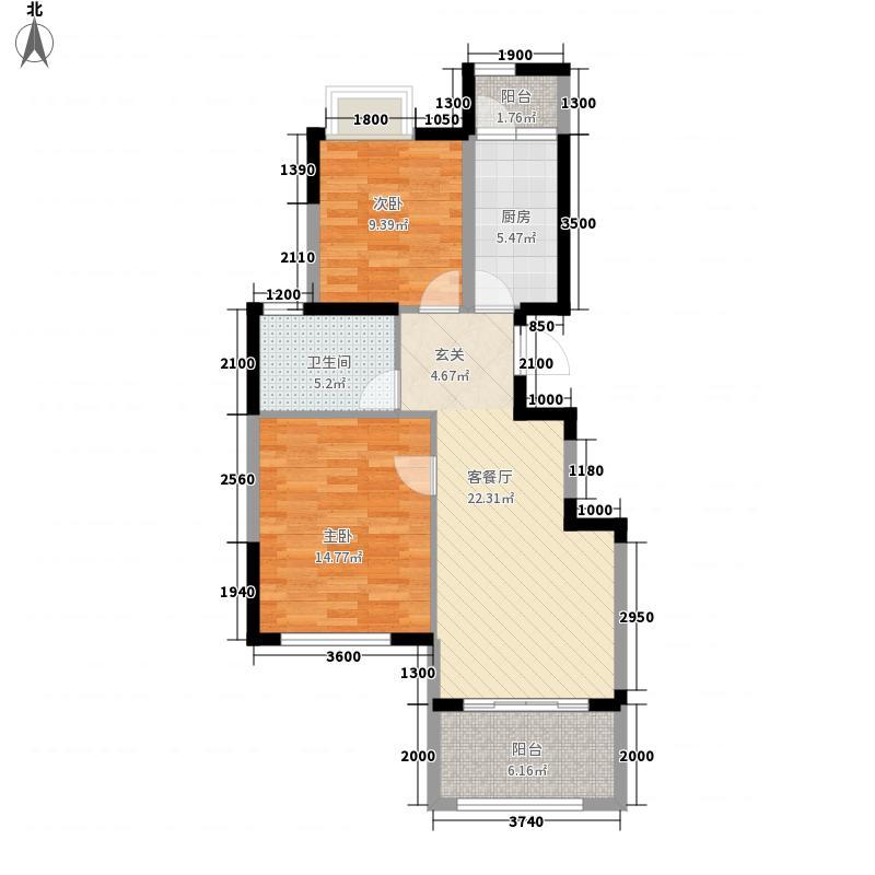 长青温泉岛8.00㎡户型2室2厅1卫1厨
