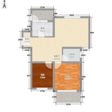 东兰兴城玉兰苑2室1厅1卫1厨86.00㎡户型图