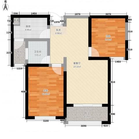 振兴嘉苑2室1厅1卫1厨86.00㎡户型图