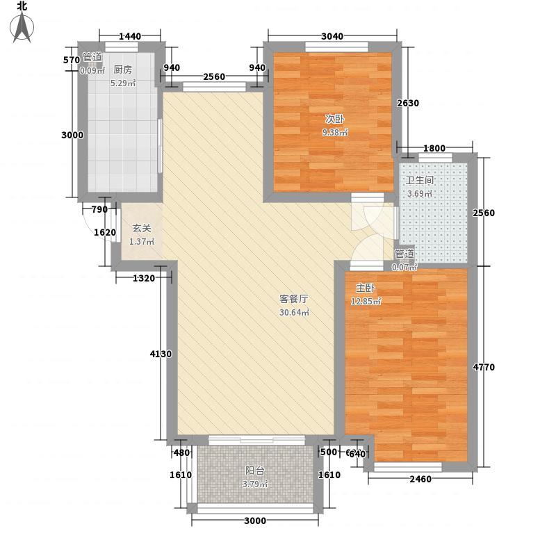 金海・太阳公园二期88.00㎡A3户型2室2厅1卫1厨
