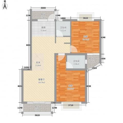 东兰兴城玉兰苑2室1厅2卫0厨97.00㎡户型图