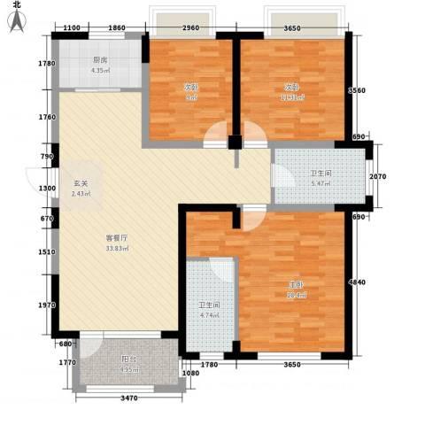 兰亭苑3室1厅2卫1厨131.00㎡户型图