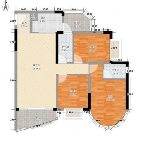 碧水湾3室1厅2卫1厨92.43㎡户型图
