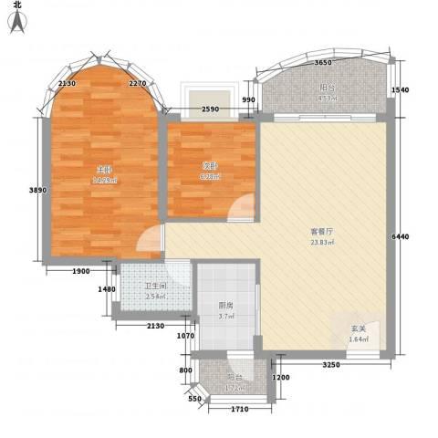碧水湾2室1厅1卫1厨65.00㎡户型图