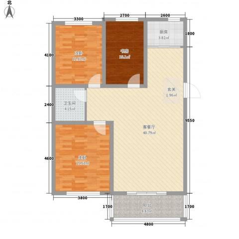 凤凰城3室1厅1卫1厨113.00㎡户型图