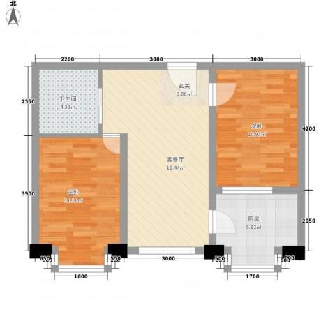 凤凰城2室1厅1卫1厨62.00㎡户型图