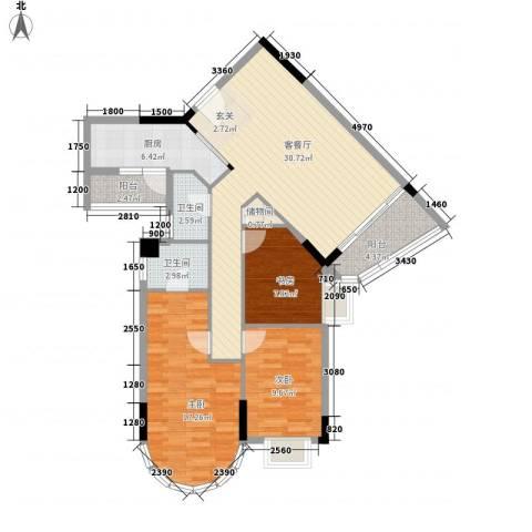 碧水湾3室1厅2卫1厨96.84㎡户型图