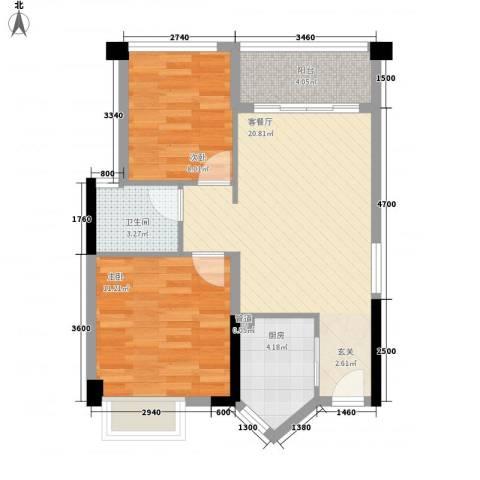 盈悦豪庭2室1厅1卫1厨51.58㎡户型图