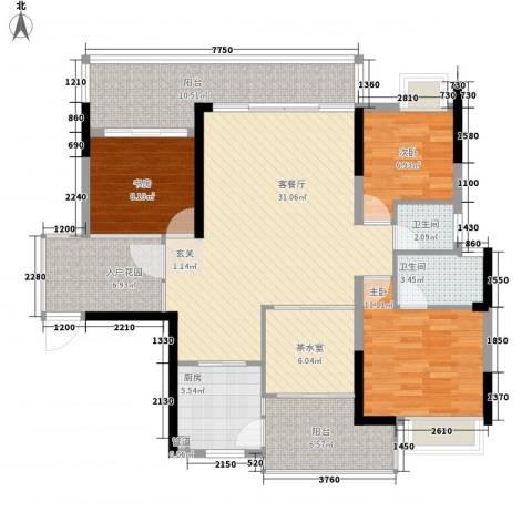金山龙庭3室1厅2卫1厨140.00㎡户型图