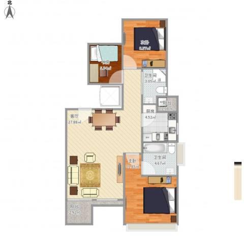 i都会3室1厅2卫1厨95.00㎡户型图