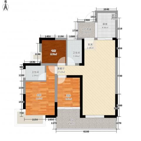 金山龙庭3室1厅2卫1厨107.00㎡户型图