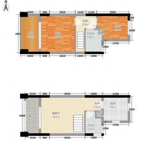 美佳华首誉2室1厅2卫1厨68.00㎡户型图