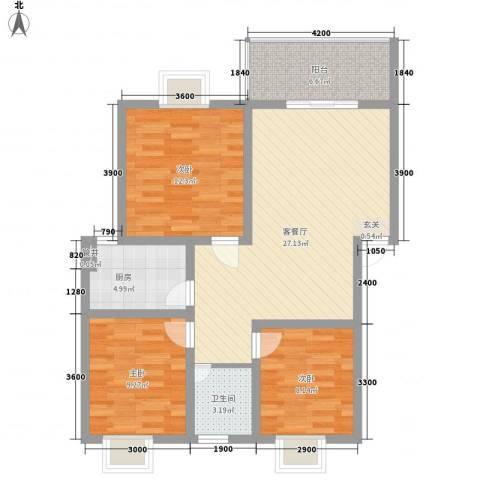 海德旭园3室1厅1卫1厨89.00㎡户型图