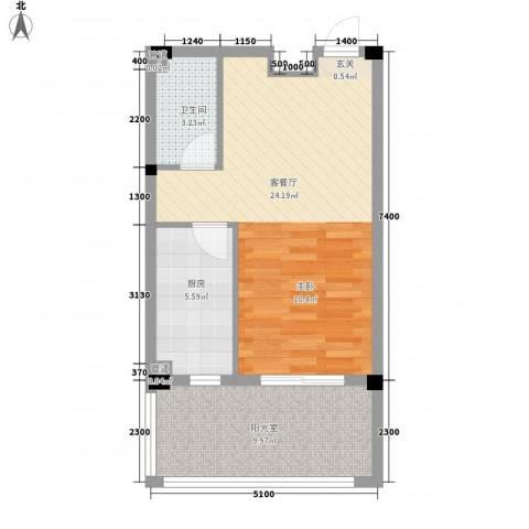 丽晶公馆1厅1卫1厨61.00㎡户型图