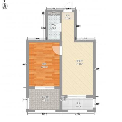 丽晶公馆1室1厅1卫1厨56.00㎡户型图