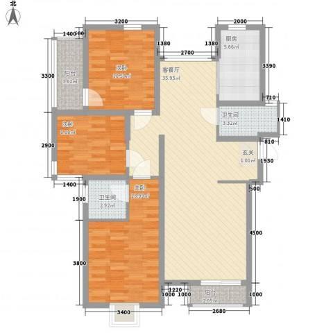 厦禾商厦3室1厅2卫1厨124.00㎡户型图