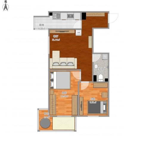 金世纪嘉园2室1厅1卫1厨80.00㎡户型图