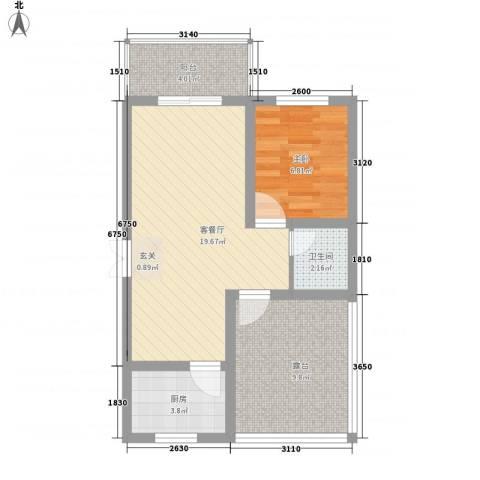 蔺高佳苑1室1厅1卫1厨67.00㎡户型图