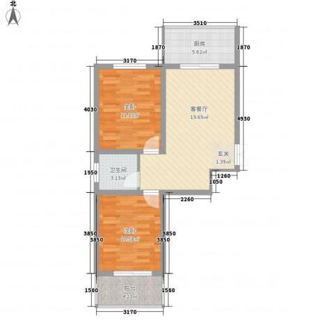 蔺高佳苑2室1厅1卫1厨78.00㎡户型图