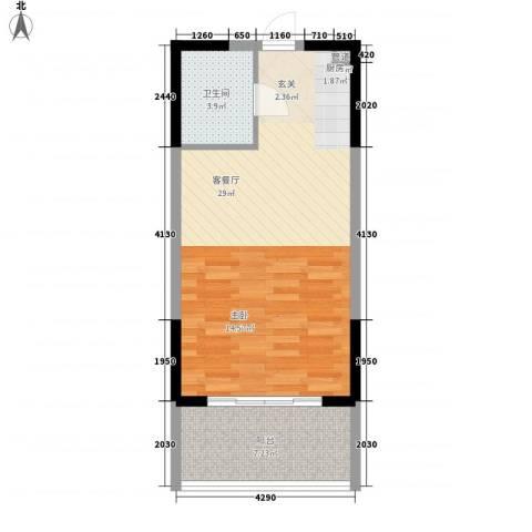 博辉戴河国际酒店式公寓1厅1卫0厨57.00㎡户型图